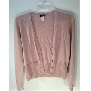Pink J. Crew cardigan with gold buttons